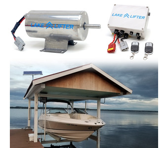 Boat Hoist Motor + Solar Charging Kit - Stainless Steel DC 20w-24v